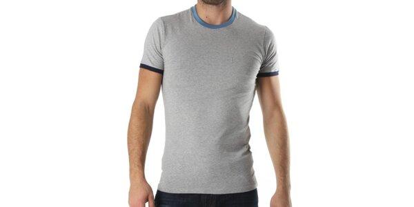 Pánske šedé tričko s modrými lemami Kenzo