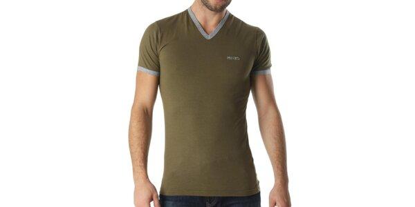 Pánske khaki tričko s véčkovým výstrihom Kenzo