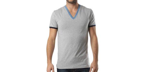 Pánske šedé tričko s výstrihom do V a kontrastnými lemami Kenzo