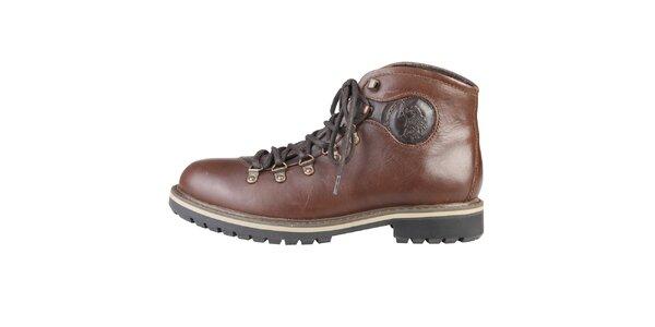 Pánske hnedé členkové kožené topánky U.S. Polo