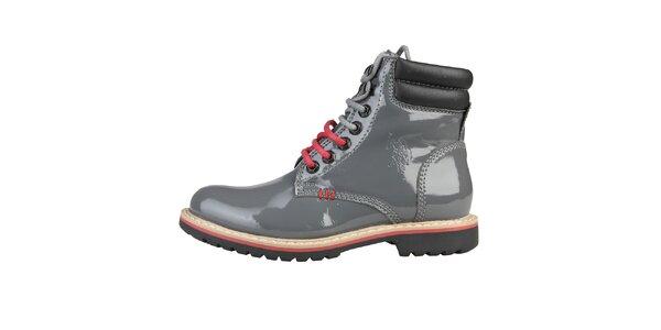 Dámske lesklé šedé topánky U.S. Polo