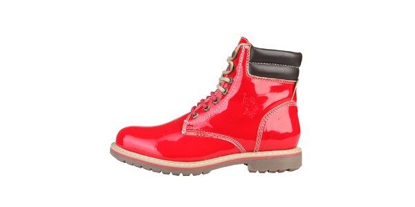 Dámske lesklé červené topánky U.S. Polo
