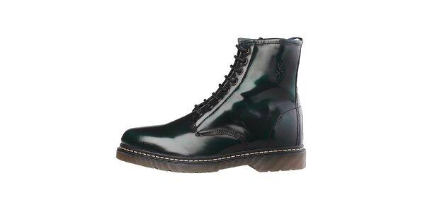 Pánske tmavo zelené lakované šnúrovacie topánky U.S. Polo