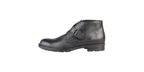 Pánske kožené čierne topánky s prackou U.S. Polo