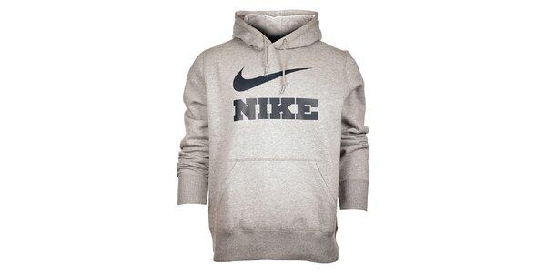 Pánska svetlo šedá melírovaná mikina Nike s kapucou a čiernym logom