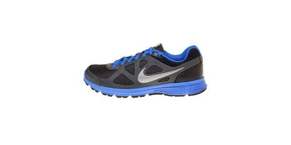 Pánske čierne bežecké topánky Nike Revolution s modrými detailami