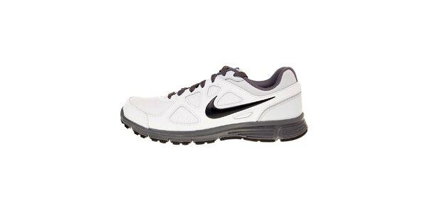 Pánske biele bežecké topánky Nike Revolution s šedivými detailami