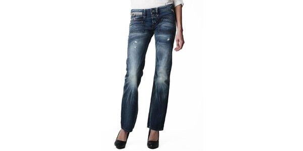Dámske tmavo modré džínsy s vyšisovanými kolenami Replay
