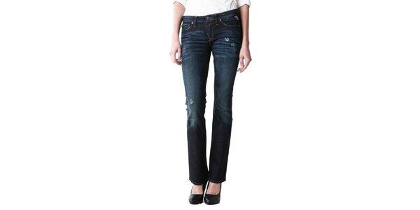 Dámske tmavo modré džínsy s odreninami Replay