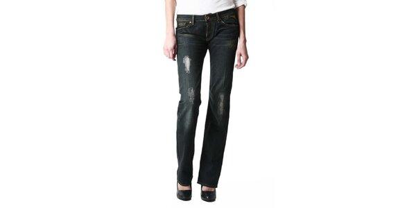 Dámske tmavo modré džínsy s dekoráciou na vrecku Replay