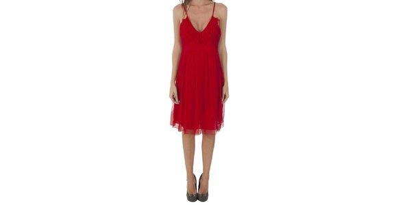Dámske červené hodvábne šaty Naf Naf