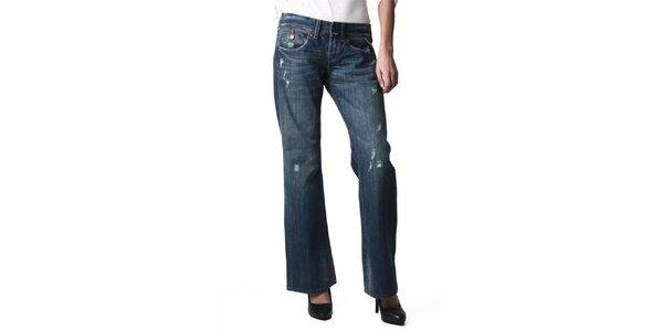 Dámske modré dierované džínsy Replay
