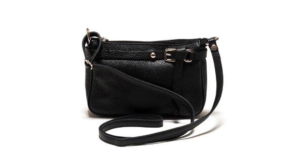 Dámska čierna kožená kabelka cez rameno Isabella Rhea