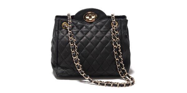 Dámska čierna zaoblená kabelka z kože Isabella Rhea