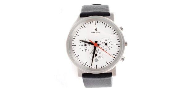 Dámske oceľové hodinky Danish Design s čiernym koženým remienkom
