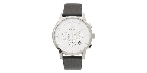 Analogové titanové hodinky s koženým remienkom Danish Design