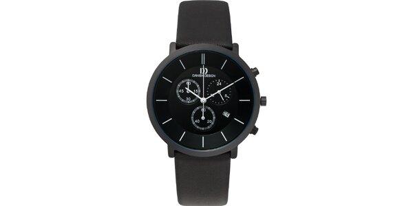 Čierne analógové titanové hodinky s koženým remienkom Danish Design