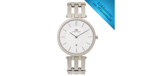 Dámske guľaté hodinky s bielym ciferníkom Danish Design