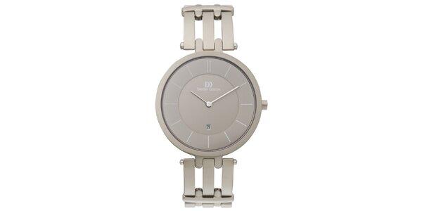 Dámske guľaté hodinky s šedostrieborným ciferníkom Danish Design