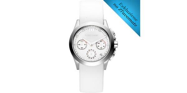 Dámske biele hodinky s oceľovým púzdrom Danish Design
