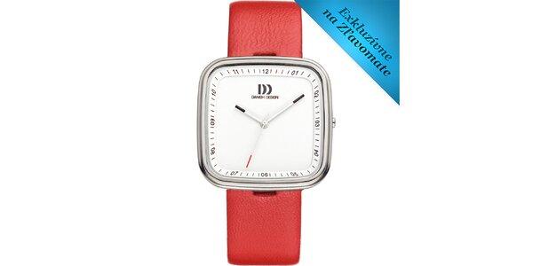 Dámske biele analógové hodinky s červeným remienkom Danish Design