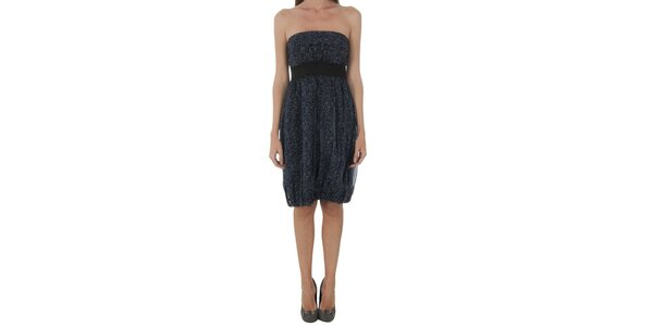 Dámske temne modré šaty Naf Naf s jemnou kvetinovou potlačou