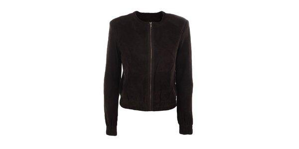 Dámska semišová tmavo hnedá bunda Company&Co