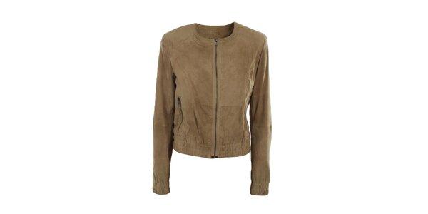 Dámska semišová svetlo hnedá bunda Company&Co