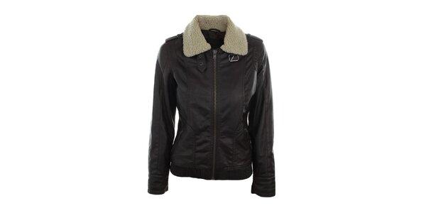 Dámska tmavo hnedá bunda s huňatým límcom Company&Co