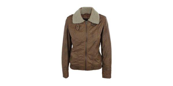 Dámska svetlo hnedá bunda s huňatým límcom Company&Co