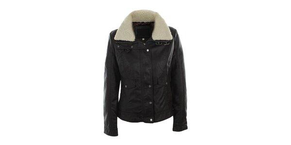 Dámska tmavo hnedá bunda s kožúškom Company&Co