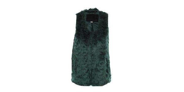 Dámska zelená huňatá vesta Company&Co