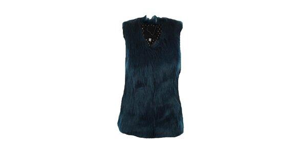 Dámska temno modrá kožúšková vesta Company&Co