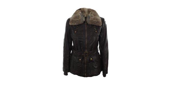 Dámska tmavo hnedá bunda s kožúškovým límcom Company&Co