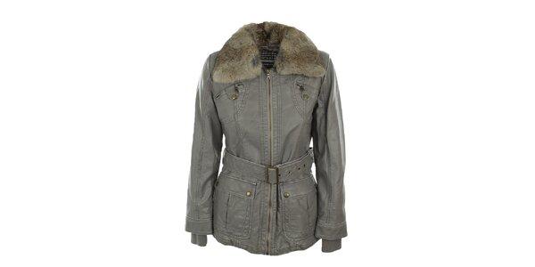 Dámska šedá bunda s kožúškovým límcom Company&Co