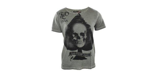 Pánske šedé tričko s lebkou Fuga