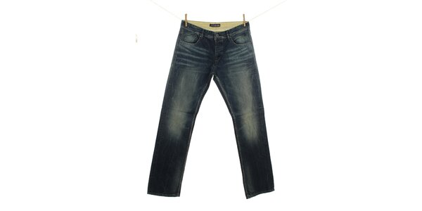 Pánske indigové džínsy s šisovaním Fuga