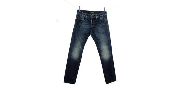 Pánske modré džínsy Fuga s šisovaním na kolenách
