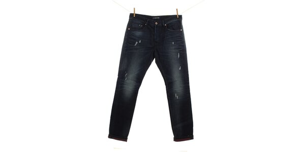 Pánske tmavo modré džínsy s predreninami Fuga