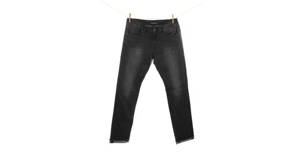 Pánske čierne džínsy s miernym šisovaním Fuga