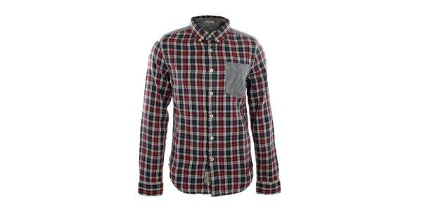 Pánska čierno-červená károvaná košeľa Fuga