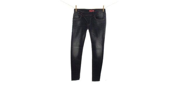 Dámske šisované tmavomodré džínsy Fuga
