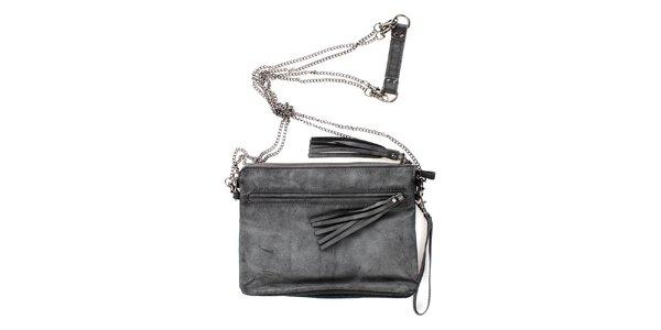 Dámska šedá kabelka s retiazkou cez rameno Fuga