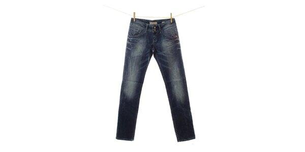 Dámske tmavomodré džínsy s šisovaním Fuga