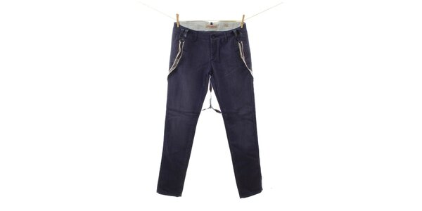 Dámske modré džínsy s trakmi Fuga