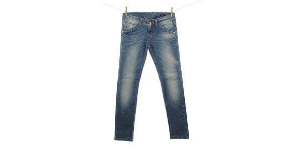 Dámske modré džínsy miestami vyšisované Fuga