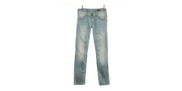 Dámske svetlo modré džínsy s šisovaním Fuga