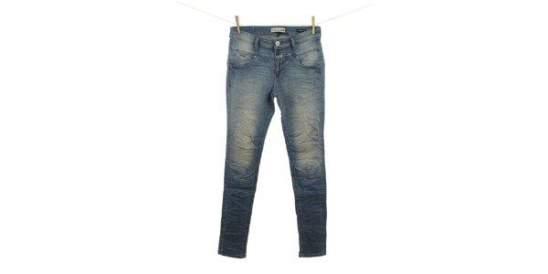 Dámske modré džínsy s vyšisovanými kolenami Fuga