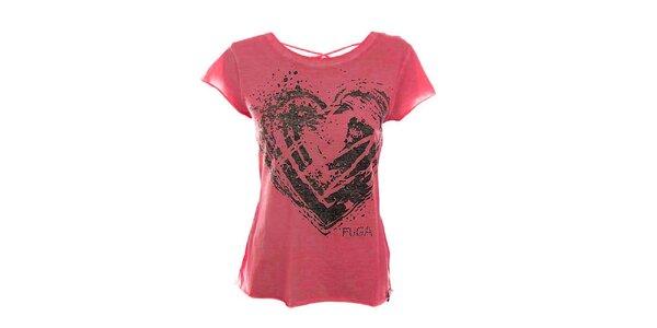 Dámske tmavo ružové tričko so šnurovaním na chrbáte Fuga