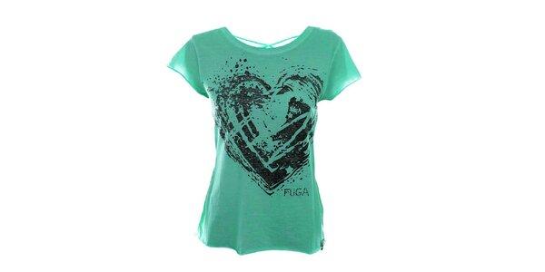 Dámske zelené tričko so šnurovaním na chrbáte Fuga